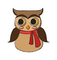 owl with scarf icon vector image vector image