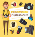 photographer with photo items and camera vector image vector image