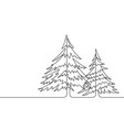 pine trees continuous line graphic vector image vector image
