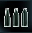 realistic transparent clear empty milk bottles vector image