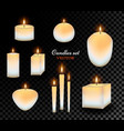 realistic wax candles set vector image vector image