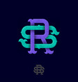 rs monogram crossed letters intertwined letters vector image