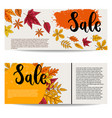 sale set banner templates with autumn leaves vector image