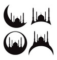 set of silhouettes of a mosque eid al adha vector image