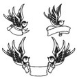 set vintage style tattoo with swallow birds vector image vector image