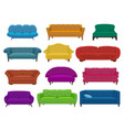 sofa and couches colorful cartoon vector image vector image