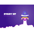 start up concept space background with rocket and vector image vector image