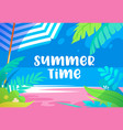 summer time vibrant banner with palm tree leaves vector image vector image