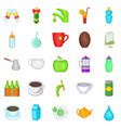 tea drink icons set cartoon style vector image