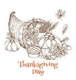 Thanksgiving Day cornucopia greeting sketch vector image vector image