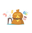 tiny businessman character tight budget sack with vector image