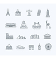 Travel landmarks line icon set vector image