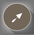 trowel sign white icon on brown circle vector image vector image