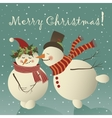 Two cute snowman in love vector image