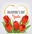 valentines day sale card with tulips vector image vector image