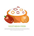 vegetarian food color banner vector image