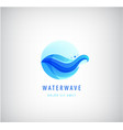 wavy blue logo water wave 3d gradient icon vector image