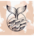 Whale tail in sea waves boho blackwork tattoo vector image vector image