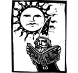 Wizard beneath a sun face vector image vector image