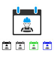 worker calendar day flat icon vector image vector image