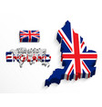 england 3d flag and map vector image
