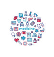 medicine concept with colorful line icons isolated vector image