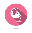 Trendy round globe earth icon with long shadow vector image