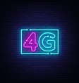 4g new wireless internet wifi connection neon sign vector image