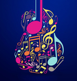 Abstract Guitar and Notes Design vector image vector image