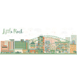 Abstract Little Rock Skyline with Color Buildings vector image