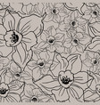 black contour floral seamless pattern with hand vector image vector image