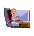 boy playing video game avatar character vector image