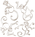 Brown Monkeys Silhouettes Isolated on White vector image