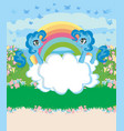 card with a cute unicorns rainbow and flowery vector image vector image