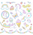 cartoon unicorns set vector image vector image