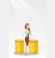 caucasian waitress holding a bottle of wine vector image vector image