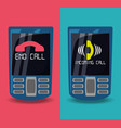 cellphones with calling and end call vector image vector image