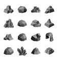 coal stones rock boulder crystal polygonal design vector image