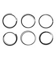 collection black hand drawn circles vector image
