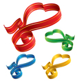 color ribbon hearts vector image vector image