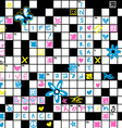 Crossword puzzle with flowers and symbol seamless vector image vector image