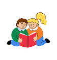 cute little boy and girl reads a book vector image vector image