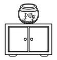 fish pet in aquarium over drawer vector image