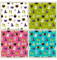 Flat Magic Halloween Witch Seamless Pattern Set vector image vector image