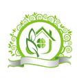 Green house and leaves vector image