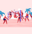 group young people playing beach volleyball vector image vector image