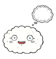 happy cartoon cloud with thought bubble vector image