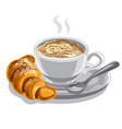 hot coffee with milk vector image vector image