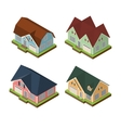 Isometric 3d private house icons set vector image vector image