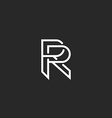 Letter R logo monogram mockup hipster black and